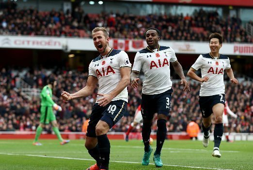 Harry Kane scoring against Arsenal