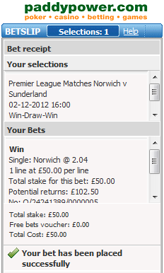 £50 on Norwich to win at odds of 2.04 with Paddy Power