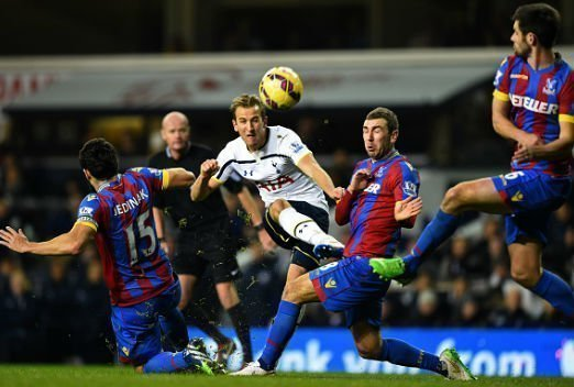Harry Kane shooting against Crystal Palace
