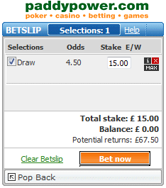 Backing the Draw at Half Time at Odds of 4.50 with Paddy Power