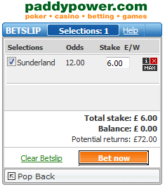 Backing Sunderland at Half Time for £6 at Odds of 12.00 with Paddy Power