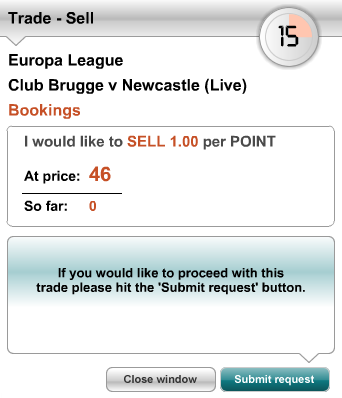Sell Total Bookings Points at 46 – Club Brugge Vs Newcastle