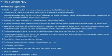 Example of free bet terms & conditions from Betfred.